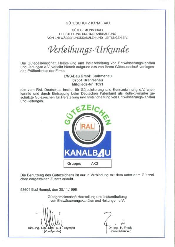 Zertifikat Güteschutz Kanalbau